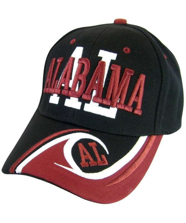 Alabama Men's AL Wave Pattern Adjustable Baseball Cap - Black/Crimson - CO17YIT9IKY