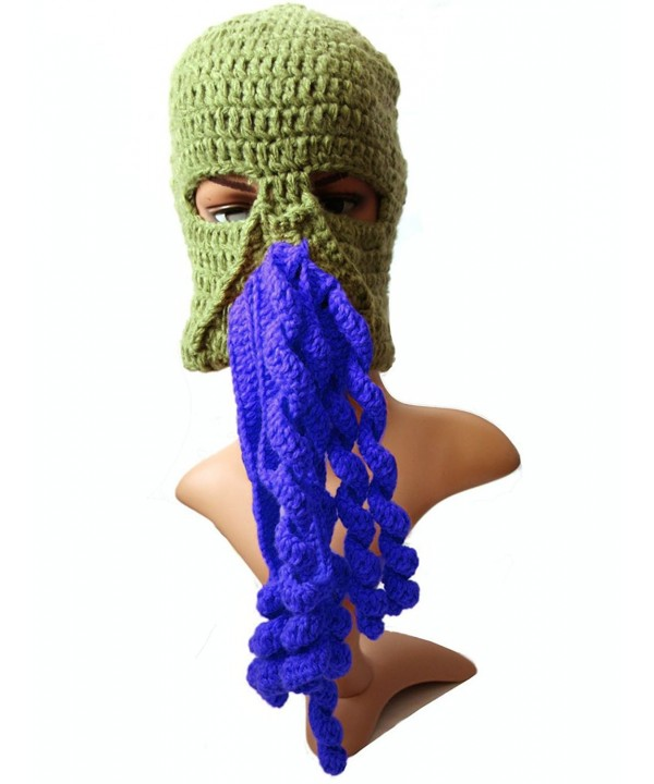 BIBITIME Crochet Octopus Tentacle Beanie Hat Squid Mask Cap Knitted Beard Caps - Army Green With Blue - C5189QD5EL4