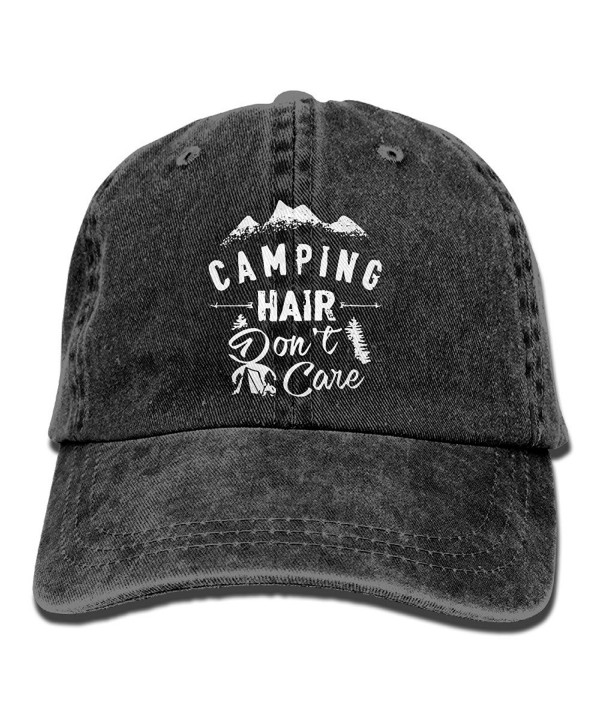 Camping Hair Don't Care Unisex Adult Adjustable Trucker Dad Hats - Black - CE186KIE03G