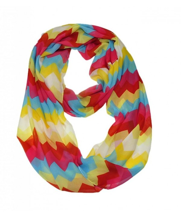 WishCart Infinity Scarf for women Loop wave ZigZag Sheer Print Multi Color - Red Yellow - CC11Q6T8QGV