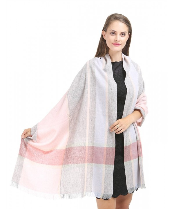 Saferin Cashmere Winter Shawl SSS Grey - Pink Plaid Short Fringe-thick 200g - CT185IAHTO8