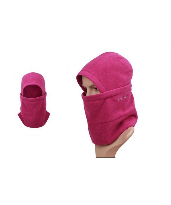 Fleece Balaclava Women Ski Hat Climbing Hat Neck Gaiter (Fuchsia) - CD11HOY2OGF