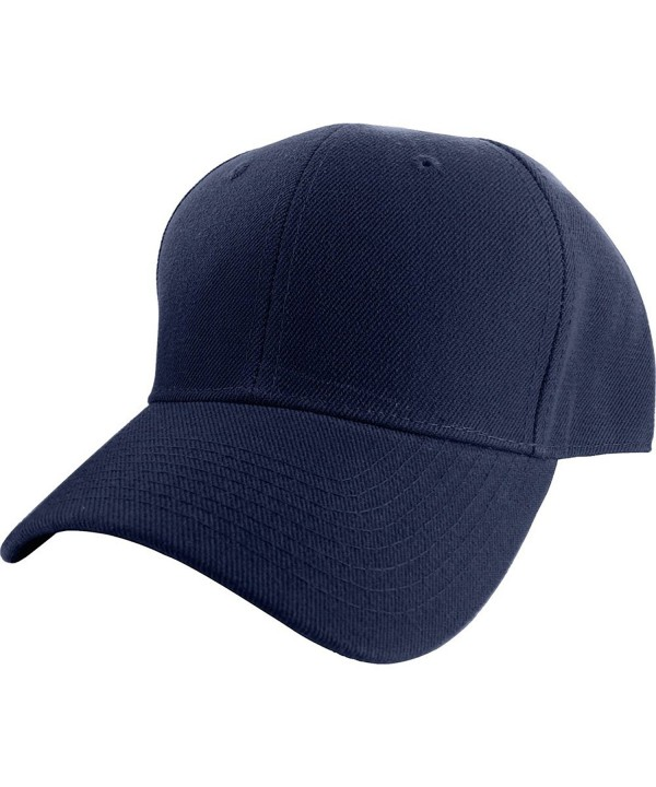 DealStock Plain Fitted Sized Curved Visor Baseball Cap (15+ Colors 9 Sizes) - Navy - C411VZ25Y1J