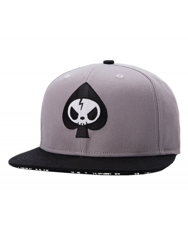 Connectyle Mens Skull Embroidery Fitted Flat Bill Hats Cool Snapback Hip Hop Cap- Medium- Grey - CX12D11WBSZ