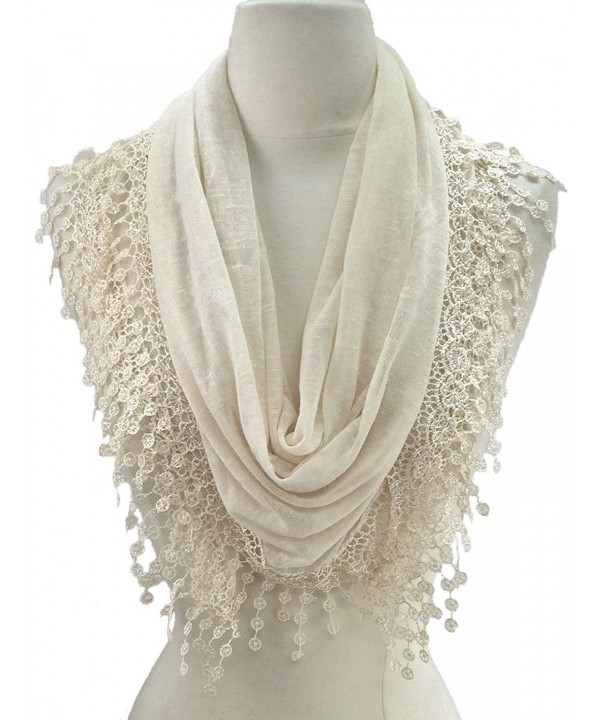 Women Lightweight Flower Lace Silk Scarf Knit Oblong Cotton Fringe Scarf for Women - L Cream - C911LLQ7511