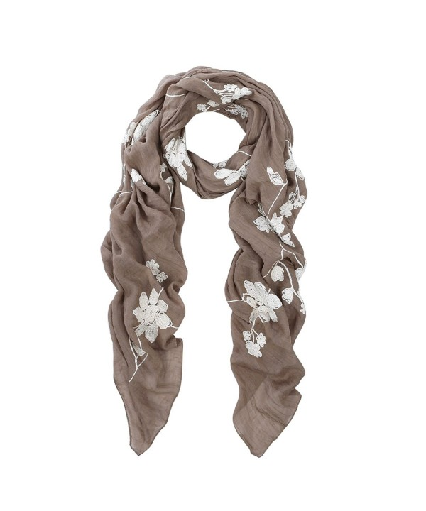 Premium Elegant Lace Floral Embroidered Scarf Wrap - Different Colors Available - Taupe - CK1279CJ8EH