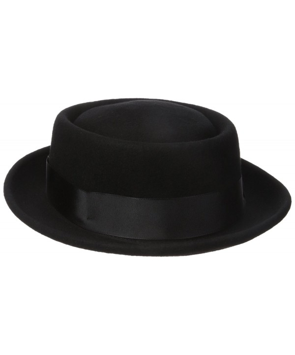 Henschel Men's 100% Wool Felt Porkpie Hat and Grosgrain Ribbon Band and Bow - Black - C0115WT3ETP