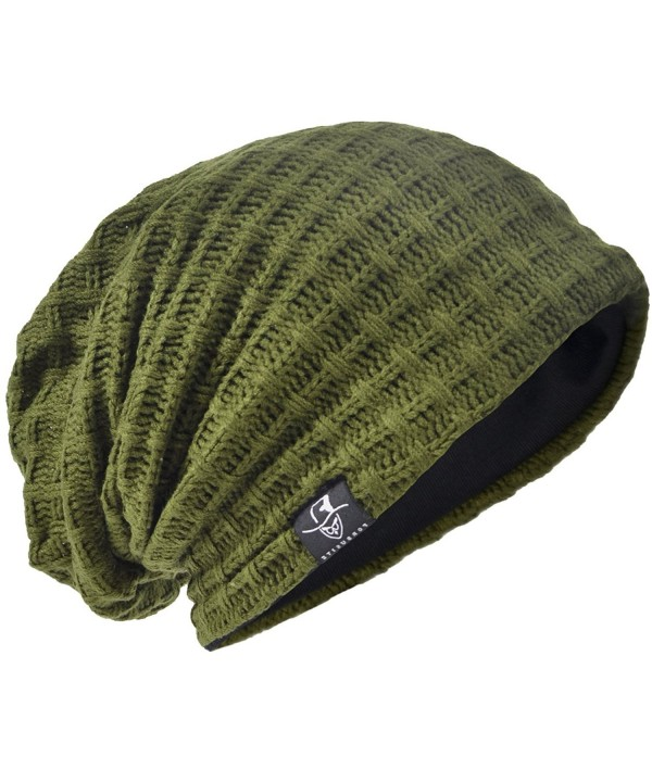 HISSHE Men's Slouchy Beanie Oversize Summer Winter Skull Cap Hat B305 - Plaid-green - CL187O5HNGW