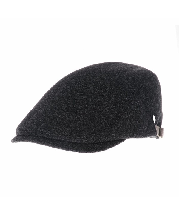 WITHMOONS Wool Soft Melange Simple newsboy Hat Flat Cap SL3126 - Charcoal - CU128MYVX2B