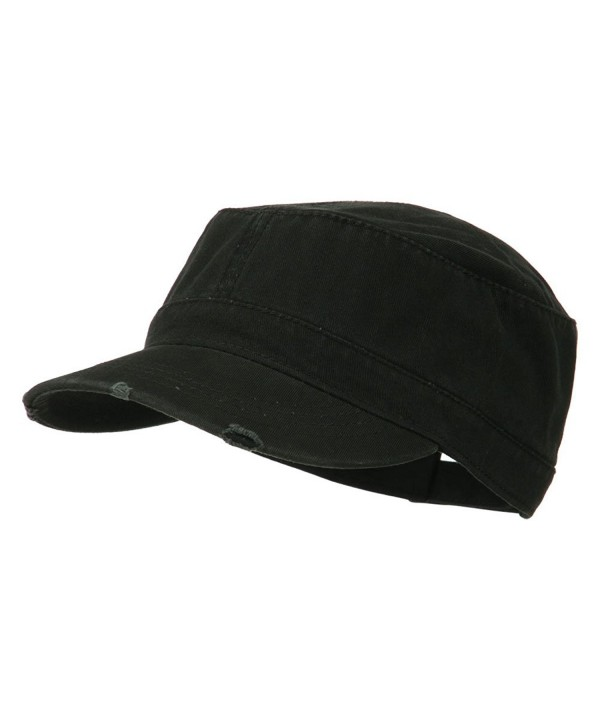 Garment Washed Distressed Military Cap - Black - CQ11UU779A3
