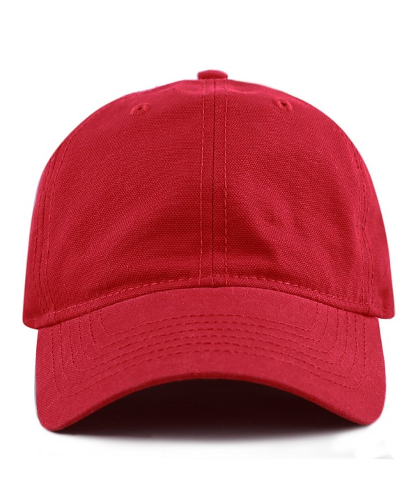 THE HAT DEPOT 100% Cotton Canvas 6-Panel Low-Profile Adjustable Dad Baseball Cap - Red - CL180DMXHNK