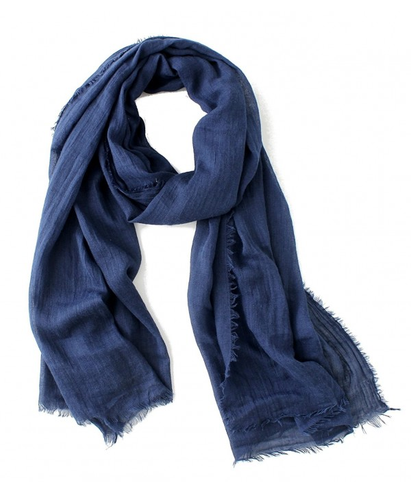 Cotton Scarf Shawl Wrap Soft Lightweight Scarves And Wraps For Men And Women. - Navy - CJ189SE3UNN