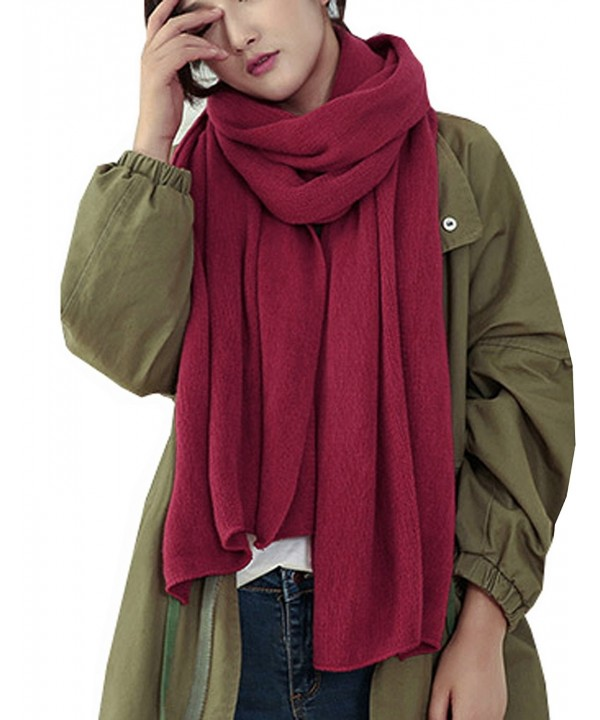 Wander Agio Womens Warm Winter Infinity Scarves Set Blanket Scarf Pure Color - Purplish Red1 - CN187Q7849C