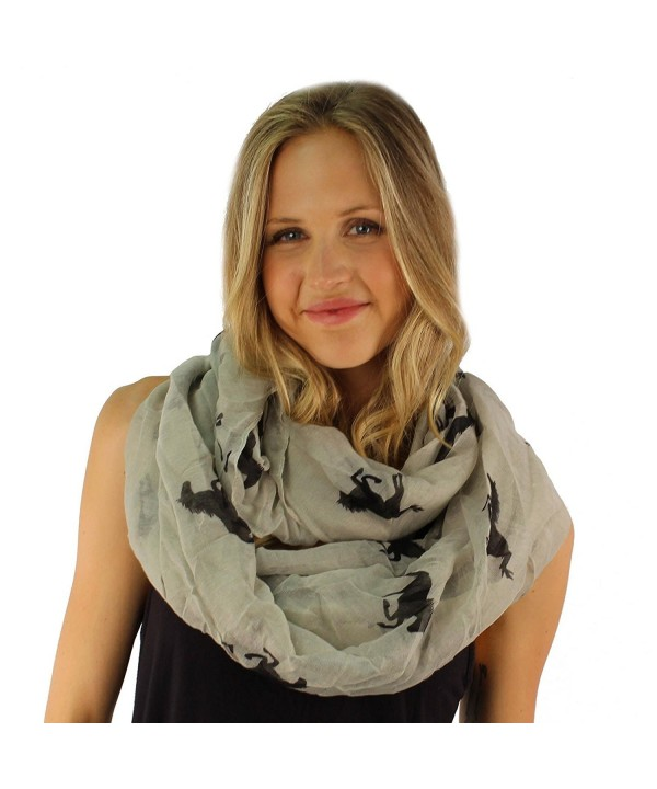 Light Soft Kentucky Derby Race Horse Wide Circle Loop Infinity Scarf Shawl - Lt. Gray - CF11OI1KJNR