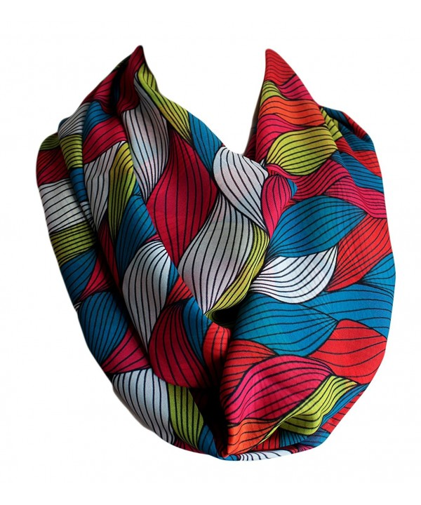 Etwoa's Colorful Wavy Print Infinity Scarf Circle Loop Scarf - CP17YZIIYDO