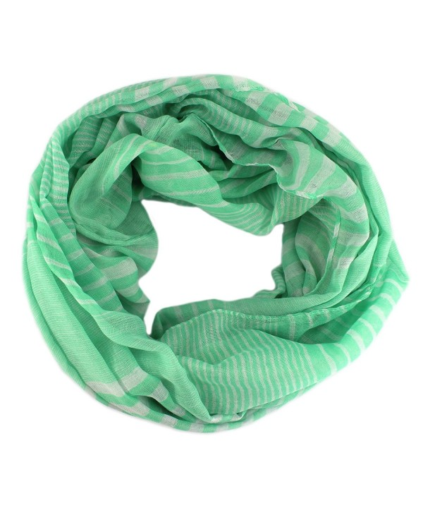 PendantScarf Premium Soft Lightweight Art Oil Painting Infinity Scarf - Striped Green - CI17YX0SX2H