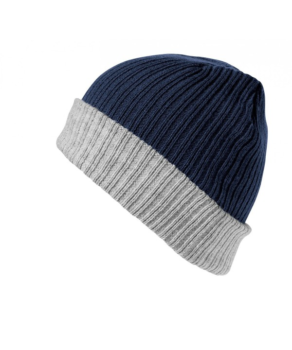 Result Winter Essentials Double Layer Knitted Hat - Navy/Gray - CM12N2WI3CA