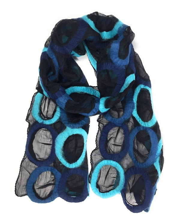 Handmade Felted Merino Wool Silk Long Art Ring Scarf Fair trade - Blue - C8186HHNDEA