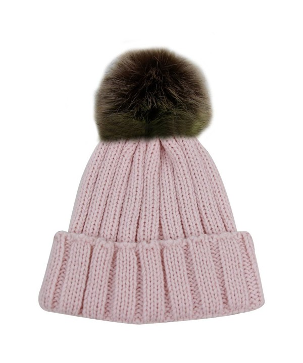 JIBIL Winter Ball Warm Unisex Warm Thick Skull Venonat Beanie Hat - Light Pink - CF185LK6TL9
