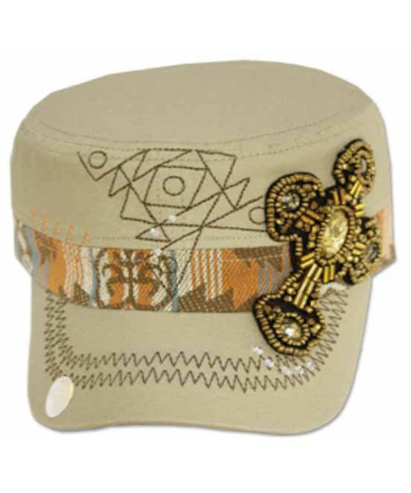 Sakkas Women's Aztec Beaded Cross Cadet Cap - Khaki - CU11E4596KT