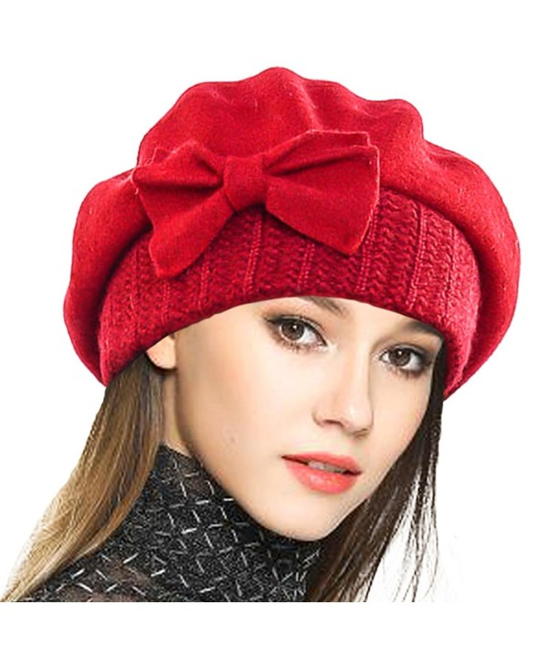 VECRY Lady French Beret 100% Wool Beret Floral Dress Beanie Winter Hat - Bow-red - CB1862LDL24