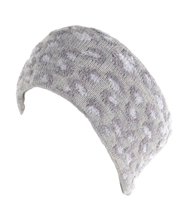 BYOS Winter Warm Leopard Print Fleece Lined Knit Headband Head Wrap Ear Warmer - Gray - CU12N6EMR4C