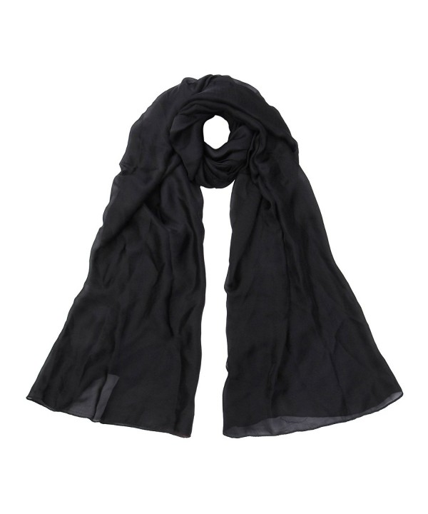 Premium Large Silky Plain Satin Oblong Scarf Wrap - Different Colors - Black - CW120V42WUH