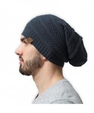 Slouchy Cable Beanie Tough Headwear - Dark Gray - CV12MJ4WF2H