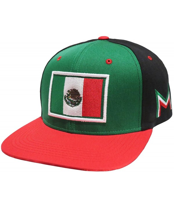 Mexico Flag Embroidered Flat Bill Snapback (Black/Green) - C811LW5S9HP
