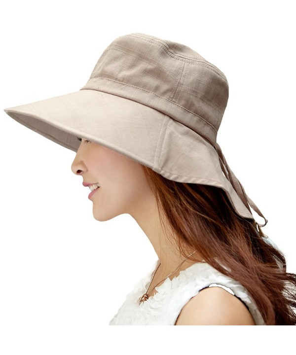 SIGGI Womens Summer Flap Cover Cap Cotton UPF 50+ Sun Shade Hat With Neck Cord - 1005_khaki - C012E6X5CEH
