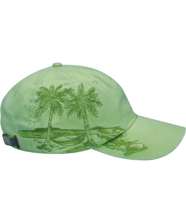 Adams Resort Palm Trees Athletic Twill Cap- One Size- Lime - C7117A9GHN9