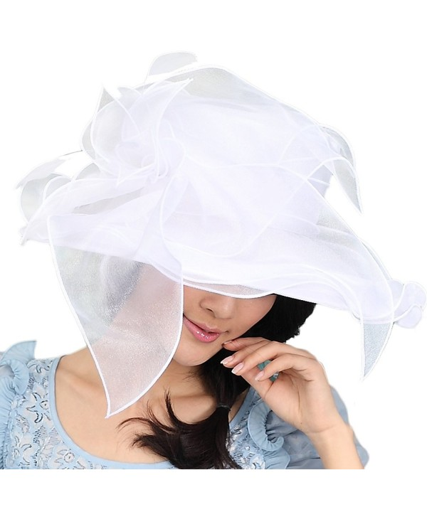 June's Young Women Hat Organza Hat Flower 3 Colors Available for Kentucky derby - White - C911XNHMYD5