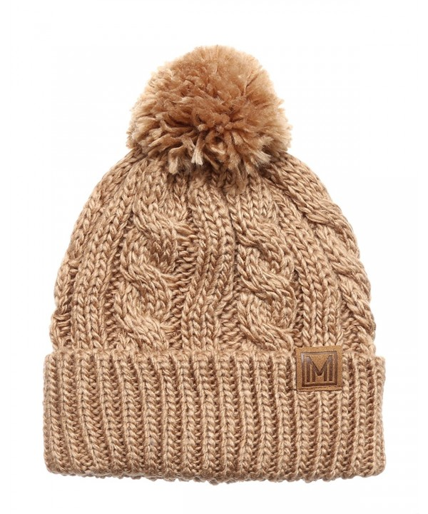 MIRMARU Winter Oversized Cable Knitted Pom Pom Beanie Hat with Fleece Lining. - Khaki - C8186MM29DN