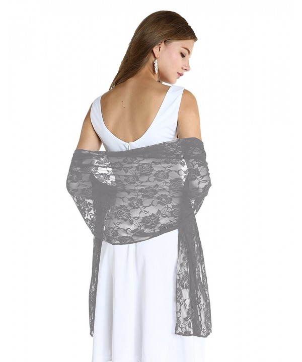 Wedtrend Women's Lightweight Chic Floral Lace Shawl Bridal Wrap Scarf - Grey - C5185GWOYSI