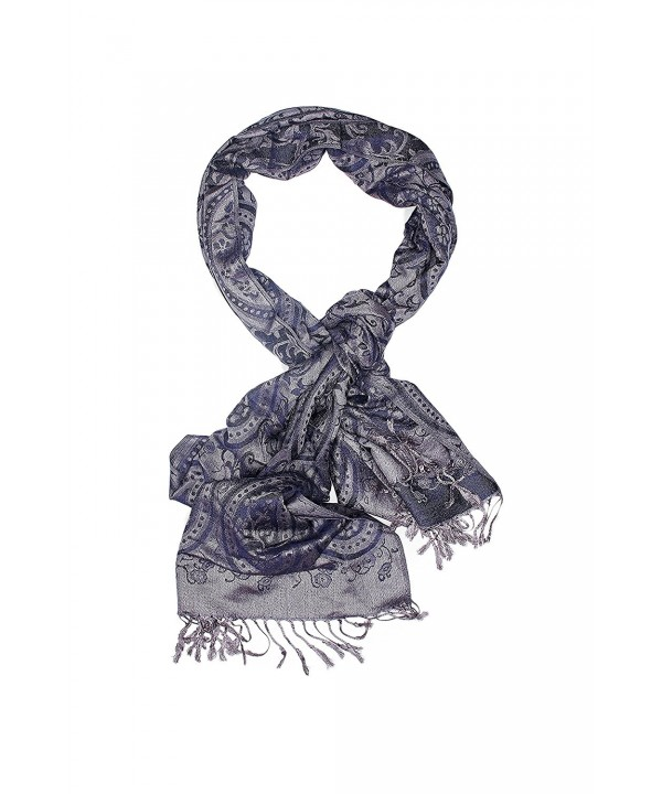Ladies Pashmina Shawl Paisley Scarf Wrap With Fringe Fashion Scarves For Women (navy blue- iron gray) - CB12N2Q4IWW
