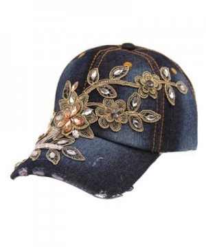 Binmer(TM)Vogue Women Diamond Flower Baseball Cap Summer Style Lady Jeans Hats - C - CD12BTYELQ1