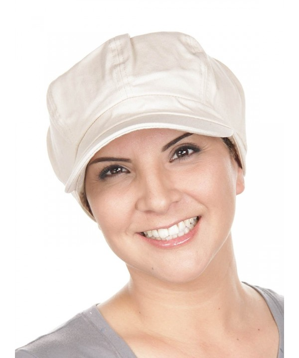 Turban Plus Womens Cotton newsboy Fitted Summer Chemo Hat- Stretch Band For Cancer Hair Loss - 11- Stone Beige - CX11K4JEUUP