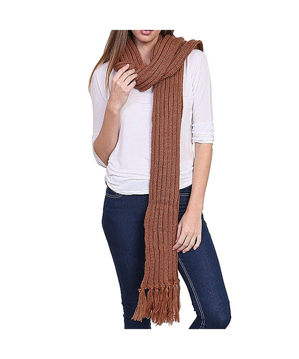 Women's Winter Warm Extra Long Stripe Knit Fringed Scarf - YS3702 - Brown - CG12NTQITX4