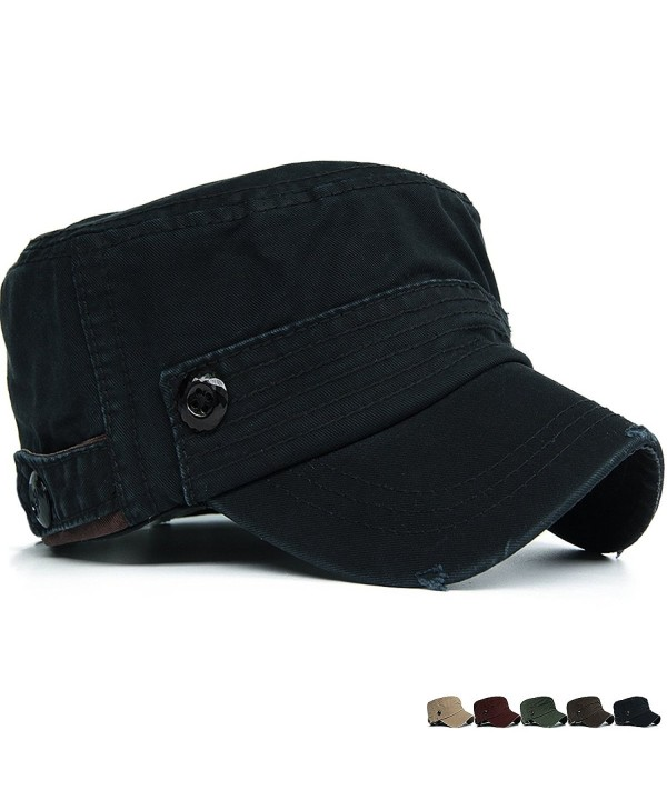 Rayna Fashion Unisex Adult Cadet Caps Military Hats Plastic Button Stripe - Black - CT12HKKJPUZ