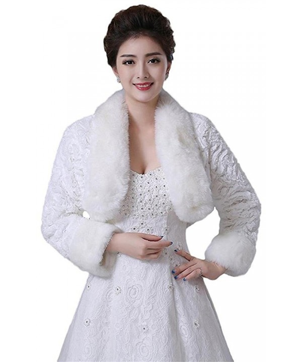 Oncefirst Women's Winter Faux Fur Wedding Jacket for Bride Wrap Shawl Bolero Jacket - Ivory - C312MFEHOO5