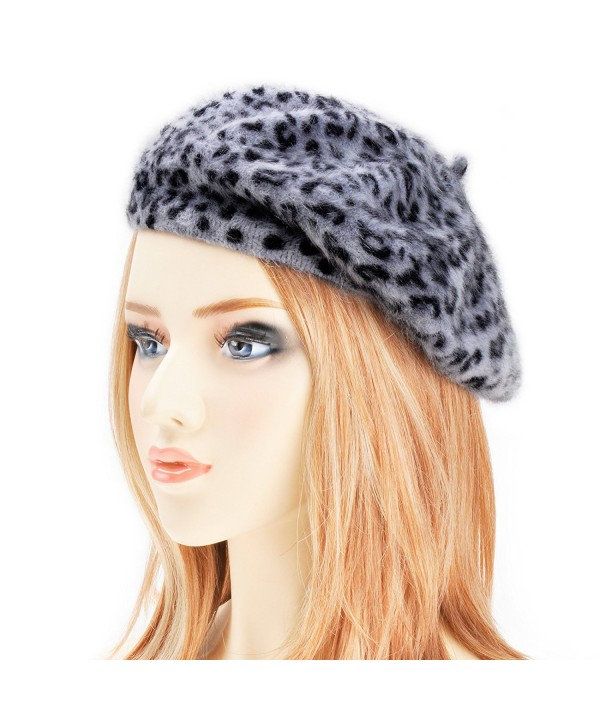 Womens Rabbit Fur French Beret Hat Leopard Print by ZLYC - Gray - CA11PWM6IIB