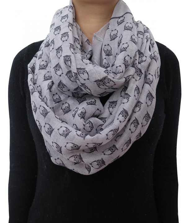 Lina & Lily Vintage Owl Print Infinity Scarf for Women Lightweight - Light Gray - CG11VW9AWA1