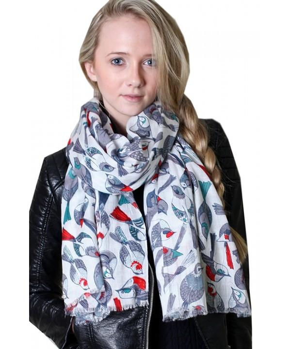 Anika Dali Women's Tweet Bird Print Scarf- Multi color Lightweight Soft Shawl (2 Colors) - Primavera Ivory / Red - CW11HNSR8Z9