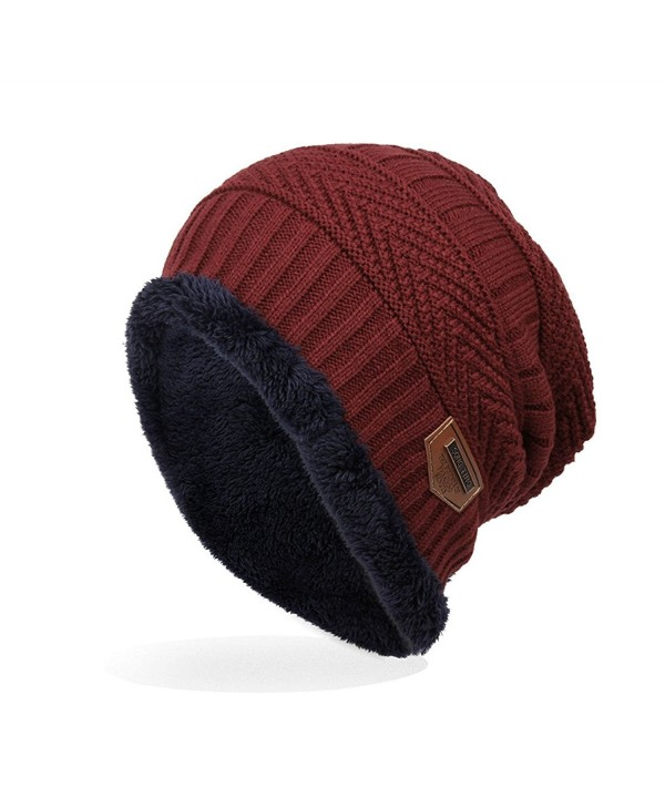 Ensnovo Mens Winter Beanies Hat Soft Lined Thick Wool Knit Skull Cap - Wine Red - CG12O1DLXME