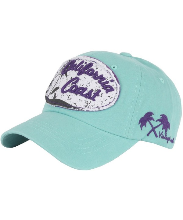 RaOn B157 California Coast Beach Lettering Summer Club Ball Cap Baseball Hat Truckers - Mint - C012HPJLUVX