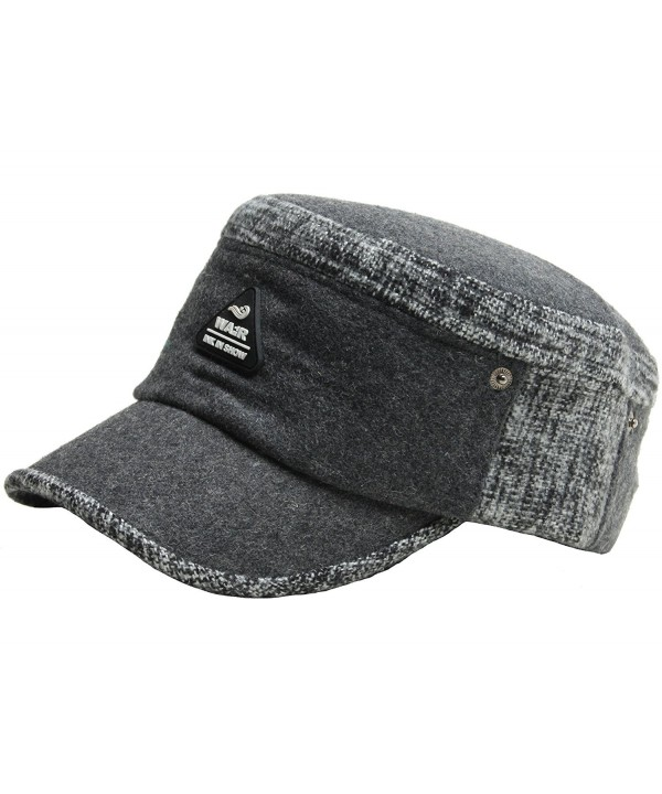 A121 Hot Fashion Winter Style Wool Warm Basic Design Army Cap Cadet Military Hat - Gray - C112BZ0G64J