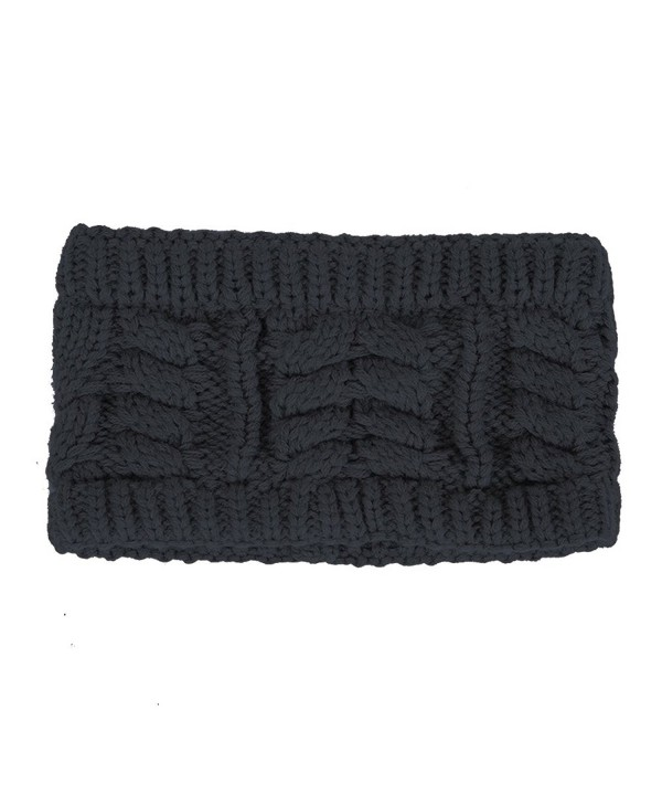 Flying Rabbit Women's Twist Flower Knit Headband Ear Warmer Head Wrap - Black - C6188OZGW8E