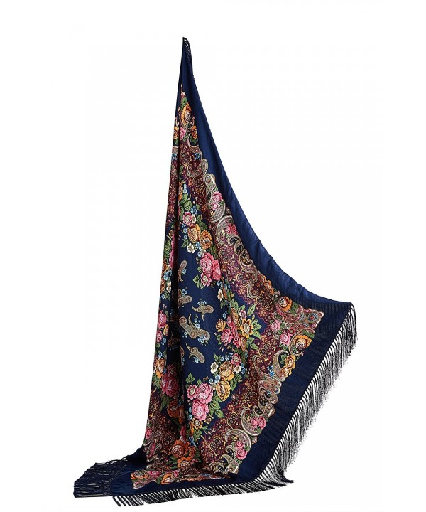 "Ladies Oversized Tassel Shawl Ukrainian Polish Russian Floral Scarf 51"" x 51"" - Dark Sea Blue - CL17YLKZIGE"