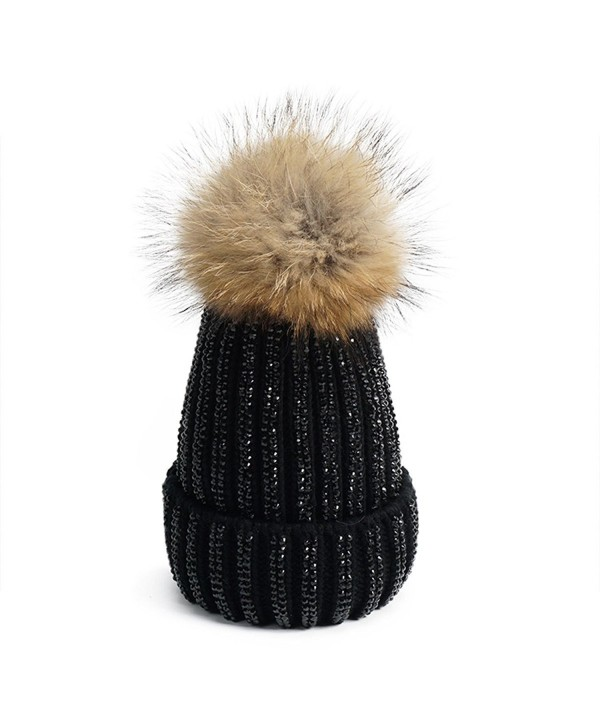Lawliet Lady Rhinestone Bling Fur Pom Pom Knit Snow Beanie Ski Hat Skull Cap A391 - All Black - C61895G590Z