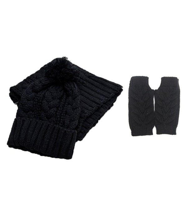 Jelinda Women Warm Knitted Scarf Gloves and Hat Winter Set (Black) - CZ12O6BNLRF